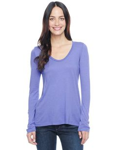 Splendid Official Store, Light Jersey L/S Scoop Top, greystone, Womens : Tops : Long Sleeve, STMJ4559