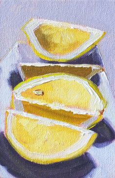 Still Life Fruit Oil Painting, Citrus Lemon Art, Miniature 4x6 on Canvas, Original Kitchen Art, Small Kitchen Decor, Wall Decor via Etsy