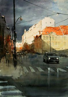 "Kazuo Kasai, ""After the heavy rain""   in Prague 51cm×36cm"