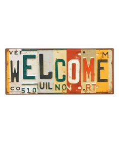 Another great find on #zulily! 'Welcome' License Plate II Wall Sign #zulilyfinds