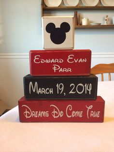 Mickey Mouse birth announcement stacking blocks baby shower Disney custom personalized Mickey Minnie Mouse custom birth date primitive. This also just made me want a Mickey themed boys nursery! Mickey Mouse Birth, Mickey Mouse Nursery, Disney Nursery, Mickey Mouse Baby Shower, Baby Mouse, Ideias Diy, Baby Blocks, Baby Boy Nurseries, Disney Baby Nurseries