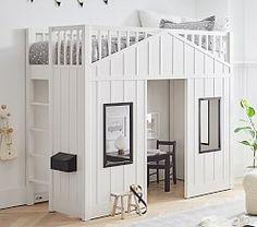 Playhouse Loft Bed For Kids | Pottery Barn Kids Treehouse Loft Bed, Playhouse Loft Bed, Loft Bed Stairs, Kids Bedroom Furniture, Bedroom Decor, Furniture Ideas, Bedroom Ideas, Furniture Makeover, Up House
