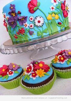 Summer Flowers Cake FROM: cake,cupcakes,cookies,cake boss,cupcake,cakes,birthday cake,wedding cakes,birthday cakes,cupcake recipes,cake decorating,baking supplies,cak...