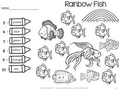 Practise rainbow facts with this fun ocean themed activity! 'The Ocean' for Kinder Kids has 50 fun Language and Math ocean-themed NO PREP printables. There are also 44 illustrated Ocean Word Wall cards. $