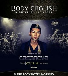 Body English Sunday July 13ht with DJ Casanova. Contact 702.741.2489 City VIP Concierge for Table and Bottle Service, Tickets, VIP Services and the BEST of Any & Everything Fabulous in Las Vegas!!! #BodyEnglishLasVegas #VegasNightclubs #VegasSundayNights #LasVegasBottleService #VIPServicesLasVegas #CityVIPConcierge *CALL OR CLICK TO BOOK* www.CityVIPConcierge.com