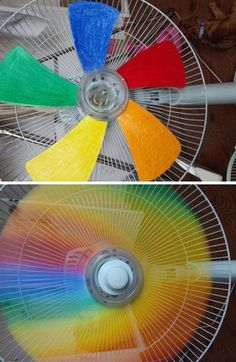 Paint fan blades to get a rainbow effect -