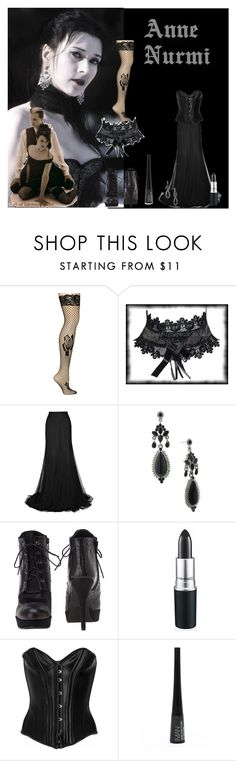 """Anne Nurmi"" by catherinechronicles ❤ liked on Polyvore featuring Betsey Johnson, 1928, Stuart Weitzman, MAC Cosmetics, Agent Provocateur, Iman, goth, dark, finnish and black"