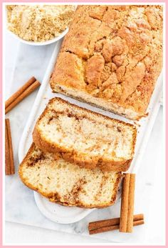 Cinnamon Swirl Bread is easy to make without yeast and has a delicious cinnamon sugar swirl inside. This moist Cinnamon Bread is perfect for the holidays! Cinnamon Bread Recipe Yeast, Cinnamon Banana Bread, Cinnamon Roll Casserole, Baked Banana, Strudel, Deep Dish Quiche Recipe, Cooking Recipes In Urdu, Delicious Breakfast Recipes, Quick Bread