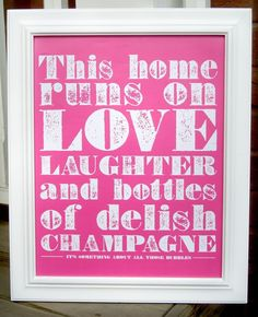 Champagne Poster (Bubble Gum/ Hot Pink). via Etsy.  (Red Wine and Beer)