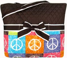 $7.75 SALE! Peace Out Quilted Diaper Bag