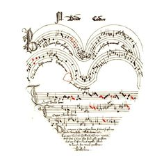 Seasonal Valentine Medieval music shaped like a heart ❤ liked on Polyvore featuring music