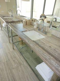 gorgeous colors and matte/honed finish! Zebra silver italian travertine top and tiles Travertine Countertops, Travertine Bathroom, Granite Flooring, Bathroom Countertops, Bad Inspiration, Bathroom Inspiration, Bathroom Ideas, Dream Bath, Kitchen Redo