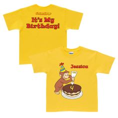 Buy Curious George It's My Birthday Yellow T-Shirt at the PBS KIDS Shop.