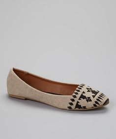 Love this Natural & Black Geometric Flat on #zulily! #zulilyfinds