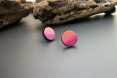 Painted circle wood stud earrings gradient hand by JewelRiot, $14.00
