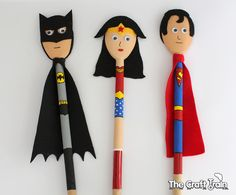 Super Hero Spoon Puppets using wooden spoons – created to look like Batman, Wonder Woman and Superman
