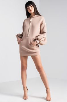 AKIRA Ruched Bishop Sleeve Scuba Neoprene Hoodie Dress in Heather Grey, Mushroom - Pose reference - Female Pose Reference, Pose Reference Photo, Drawing Reference Poses, Hand Reference, Drawing Tips, Fashion Models, Girl Fashion, Fashion Looks, Fashion Outfits