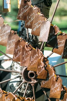 Leather escort cards: http://www.stylemepretty.com/idaho-weddings/2015/03/03/rustic-chic-ranch-wedding-in-jackson-hole/ | Photography: Hello Love - http://hellolovephoto.com/