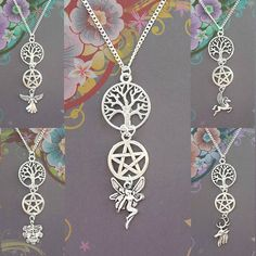 Wiccan Necklace, Fairy Necklace, Pagan Necklace, Silver Necklace, Angel, Pegasus, Green Man, Stag, Pentagram, Tree of Life, Wicca, Witch