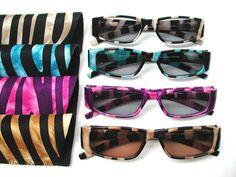Cool and collected or wild thing!  Just a few of your choices in how you will feel when sporting these fashionable sun readers in colorful tiger stripes!