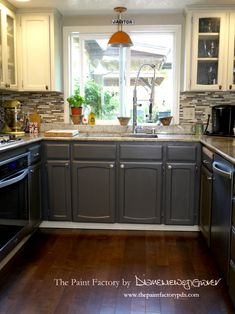 Painting Kitchen Cabinets with Wise Owl One Hour Enamel Paint: What You Need To Know. - The Paint Factory Repainting Kitchen Cabinets, Kitchen Cabinet Colors, White Kitchen Cabinets, Kitchen Paint, Kitchen Redo, Wood Cabinets, Kitchen Layout, Kitchen Countertops, Kitchen Remodel