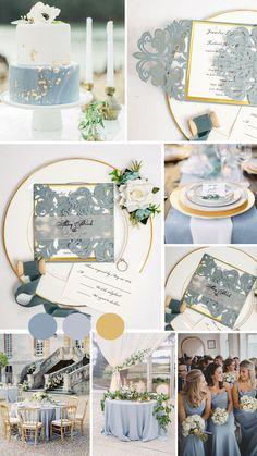 Dusty blue and gold wedding color with simple laser cut wedding invites #ewi #weddinginvtations