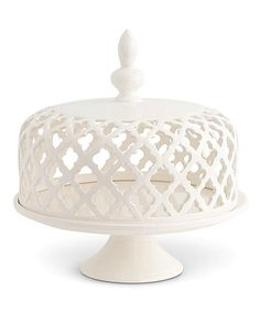 Look what I found on #zulily! White Filigree Ceramic Lid Cake Plate #zulilyfinds