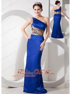 Exclusive Blue Column One Shoulder Evening Dress Taffeta Leopard Brush Train  http://www.fashionos.com    Simple but wonderful! It features an asymmetrical one-shoulder neckline and the leopard pattern fabric below the bust area which defines your natural waistline. The simplicity generous, elegant fashion design perfectly shows your curves.