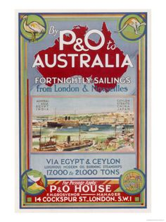 By P to Australia Via Egypt and Ceylon Giclee Print at Art.co.uk