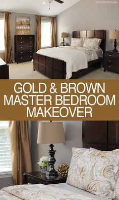 MASTER BEDROOM GOLD & BROWN MAKEOVER. Simple makeover with a classic color palette. Love this final look!