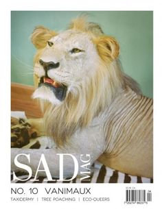 """Sad Mag is a Vancouver-based arts and culture magazine which features the work of up-and-coming artists and writers primarily between the ages of 15 and We're committed to debunking the idea that Vancouver is """"No-Fun City. Taxidermy, Writers, Vancouver, Lion, Sad, Culture, Magazine, Artists, Animals"""