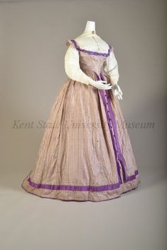 1860s, America - Purple check taffeta skirt and bodice worn with cotton seersucker blouse