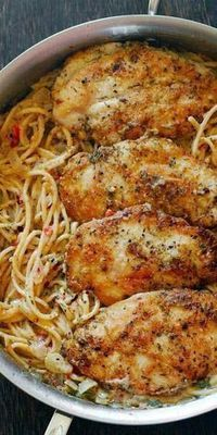 Chicken Pasta In Creamy White Wine Parmesan Cheese Sauce By cookingclassy.us Chicken Pasta in Creamy White Wine Parmesan Cheese Sauce will r. Italian Chicken Pasta, Creamy Chicken Pasta, Italian Chicken Recipes, Italian Dinner Recipes, Chicken Pasta Recipes, Chicken Salad, Simple Chicken Recipes, Pasta Dishes With Chicken, Dinner Ideas With Chicken