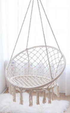 Swinging Chair US STOCK - Hanging Swing - Cotton rope - Hammock Chair ideas ideas diy para decorar cuartos Cute Room Decor, Teen Room Decor, Macrame Hanging Chair, Macrame Chairs, Hanging Egg Chair, Indoor Hanging Chairs, Hanging Beds, Hanging Chair From Ceiling, Small Room Design