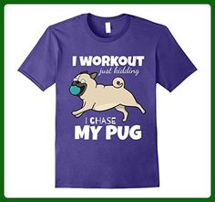 Mens I Workout Just Kidding I Chase My Pug by Puppy Dog Tees 3XL Purple - Workout shirts (*Amazon Partner-Link)