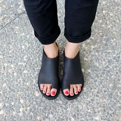 NEW FALL COLLECTION black flats open toe women by WalkByAnatDahari, $260.00
