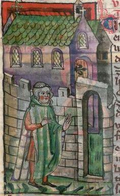 Jacobus : Legenda sanctorum aurea, verdeutscht in elsässischer Mundart [u.a.] 1362  Cgm 6 Folio NP Medieval Clothing Men, 14th Century Clothing, Masonic Symbols, Medieval Times, 15th Century, Past, Lego, Men's Coats, Cloaks