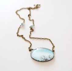Sky and Branches Cameo Necklace Grayed Jade Cameo by JujuTreasures, $25.00