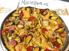Paëlla fruits de mer, chorizo et poulet de Patou - Recette de cuisine Marmiton : une recette