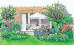 Eine schöne Terrrassenbepflanzung trägt viel zum Wohlbefinden bei. Wenn Sie dann noch den Übergang zwischen Terrasse und Garten harmonisch gestalten, ist Ihr grünes Reich schon fast perfekt. (Pflanzplan als PDF zum Herunterladen und Ausdrucken)
