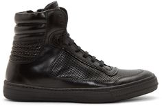 Diesel Black Gold - Black Leather Major-Pi-Z High-Top Sneakers
