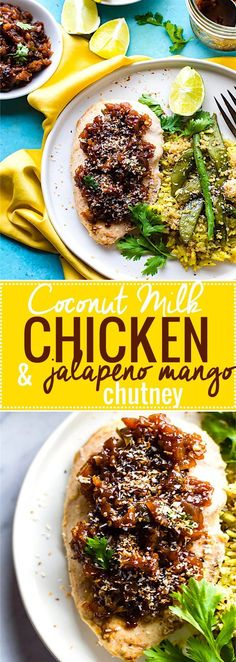 Coconut Milk Chicken with Jalapeño Mango Chutney