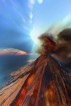 ✮ A volcano comes to life with smoke and lava ... amazing shot!