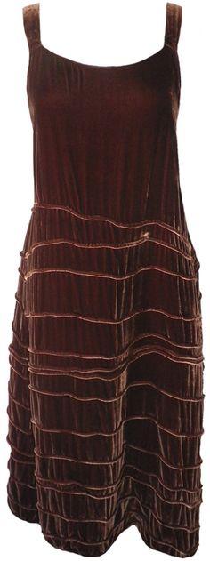 Krista Larson: Chocolate velvet Long Spring Slip, from LolaFrocks