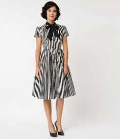 0593f09c8c5 Unique Vintage 1950s Style Black   White Striped Button Up Swing Dress Black  White Stripes