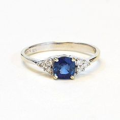 Aquamarine and White Sapphire Cushion Cut Gemstone Ring in Recycled and Tarnish…