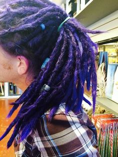 Corey's color refresh with Purple Sparks! #dreadlocks #purplehair