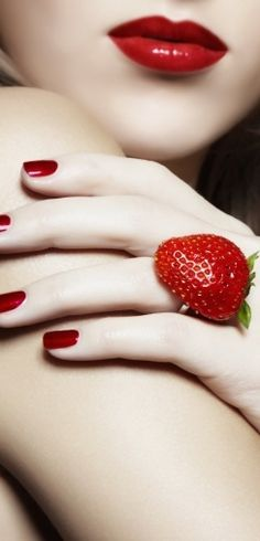 Red lips and strawberry ring - go well together.