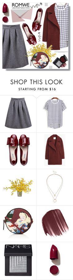 """High Waist Wine Grey Skirt"" by prigaut ❤ liked on Polyvore featuring Miu Miu, MANGO, Sole Society, Olympia Le-Tan, LORAC, NARS Cosmetics, Bobbi Brown Cosmetics, Anja, romwe and HighWaistWineGreySkirt"