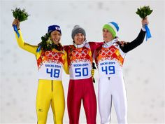 Large Hill podium, Olympic double gold for Kamil Stoch,Noriaki Kasai silver, bronze for Peter Prevc!!